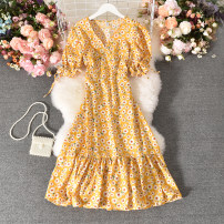 Dress Summer 2020 Yellow, red, pink, black Average size longuette singleton  Short sleeve commute V-neck High waist Decor Socket A-line skirt routine 25-29 years old Type A Korean version printing Guangli-3322 small chrysanthemum V-neck Short Sleeve Dress 30% and below other polyester fiber