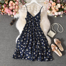 Dress Summer 2020 Average size longuette singleton  Sleeveless commute V-neck High waist Decor Socket A-line skirt routine Others 18-24 years old Type A Korean version Fold, print 30% and below other polyester fiber