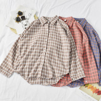 shirt Brown, red, blue Average size Autumn of 2019 other 30% and below Long sleeves commute Regular Polo collar Single row multi button routine lattice 18-24 years old Straight cylinder Korean version Shuang-13-9y1 Plaid Shirt Print, button blending
