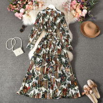 Dress Autumn 2020 Decor Average size longuette singleton  Long sleeves commute stand collar High waist Decor Socket A-line skirt routine Others 18-24 years old Type A Korean version printing 30% and below other polyester fiber