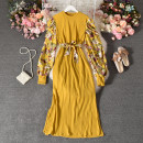 Dress Autumn 2020 Yellow, khaki, black Average size longuette singleton  Long sleeves commute Crew neck High waist Decor Socket A-line skirt routine Others 25-29 years old Type A ethnic style Stitching, printing Loach-1138 long knitting with floral foam sleeves 30% and below other polyester fiber