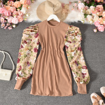 Dress Autumn 2020 Khaki, black, yellow Average size Mid length dress Fake two pieces Long sleeves commute Crew neck High waist Broken flowers Socket A-line skirt routine 25-29 years old Type A Korean version printing 30% and below other polyester fiber