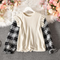 Sweater / sweater Autumn 2020 Apricot, brown, black Average size Long sleeves routine Socket singleton  routine Crew neck Straight cylinder commute pagoda sleeve lattice 18-24 years old 30% and below Korean version polyester fiber White swan-5288 lattice splicing polyester fiber Cotton liner