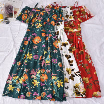 Dress Summer 2020 White, green, dark blue, light blue, khaki, black with white flowers, black with apricot flowers, dark red, scarlet Average size Mid length dress singleton  Short sleeve commute One word collar High waist Broken flowers Socket A-line skirt routine Others 18-24 years old Type A other