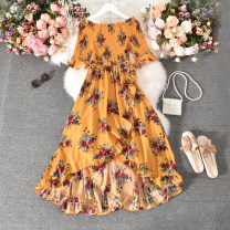 Dress Summer 2020 Average size longuette singleton  Short sleeve commute One word collar High waist Decor Socket A-line skirt pagoda sleeve Others 18-24 years old Type A Korean version Fold, print 30% and below other polyester fiber