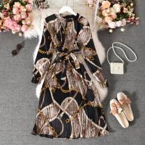 Dress Autumn 2020 White, black Average size longuette singleton  Long sleeves commute stand collar High waist Decor Socket A-line skirt routine Others 18-24 years old Type A Korean version Fold, print Huizai-6860 chain belt sleeve skirt 30% and below other polyester fiber