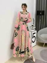 Dress Spring 2021 White, black, blue, pink, yellow Average size longuette singleton  Long sleeves commute Crew neck High waist Decor Socket Big swing routine Others 25-29 years old Type A court printing Huizai-2026 round skirt long skirt statue chain pattern 30% and below Chiffon polyester fiber