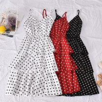 Dress Summer 2020 White, black, red M,L,XL Mid length dress singleton  Sleeveless commute V-neck High waist Dot Socket A-line skirt routine camisole 18-24 years old Type A Korean version Bow, print 631 Polka Point cake suspender skirt 30% and below other polyester fiber