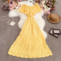 Dress Summer 2021 White, black, yellow, red, light blue Average size longuette singleton  Sleeveless commute One word collar High waist Solid color Socket A-line skirt Lotus leaf sleeve Others 18-24 years old Type A lady Print, fold Gege-9396 double layer clear color dress 30% and below other