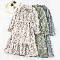Dress Autumn of 2019 White, green, blue Average size Mid length dress singleton  Long sleeves commute stand collar High waist Broken flowers Socket A-line skirt pagoda sleeve Others 18-24 years old Type A Korean version printing 30% and below other other