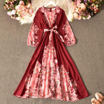 Dress Spring 2021 gules Average size longuette singleton  Long sleeves commute Crew neck High waist Decor Socket Big swing routine Others 18-24 years old Type A Korean version printing Huizai-2026 round skirt 30% and below other polyester fiber