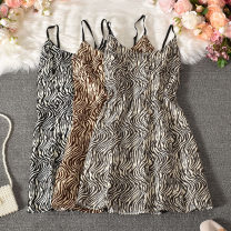 Dress Summer 2020 Grey, khaki, black Average size longuette singleton  Sleeveless commute V-neck High waist Zebra pattern Socket A-line skirt routine camisole 18-24 years old Type A Korean version printing Yangzi-1916 zebra sling 30% and below other polyester fiber