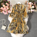 Dress Autumn 2020 yellow Average size longuette singleton  Long sleeves commute stand collar middle-waisted Decor Single breasted A-line skirt routine 18-24 years old Type A ethnic style printing 30% and below other polyester fiber
