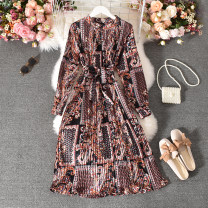 Dress Autumn 2020 Decor Average size longuette singleton  Long sleeves commute stand collar High waist Decor Socket A-line skirt routine Others 18-24 years old Type A Korean version Fold, print Huizai-6860 black bottom red totem Pullover dress 30% and below other polyester fiber