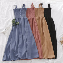 Dress Summer of 2019 Denim blue, light pink, bean paste, jujube, khaki, apricot, white, black Average size Mid length dress singleton  Sleeveless commute One word collar High waist Solid color Single breasted A-line skirt routine camisole 18-24 years old Type A Korean version Button 30% and below
