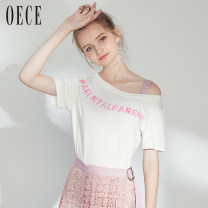 Dress Summer of 2018 white XS,S,M,L Miniskirt Two piece set Short sleeve commute Crew neck High waist routine Others 25-29 years old Oece lady Lace 182FS698 More than 95% polyester fiber