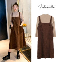 Dress Other / other Khaki top (suit), black dress + Khaki top (suit) M,L,XL,XXL Korean version Long sleeves Medium length autumn Crew neck Solid color corduroy