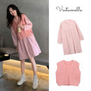 suit Other / other Pink dress + pink sweater vest M,L,XL,XXL Korean version Sleeveless + skirt spring and autumn routine Solid color Cotton liner