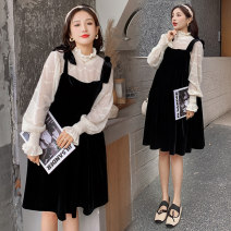 Dress Other / other Top + suspender skirt [suit] M,L,XL,XXL Korean version Long sleeves Medium length spring stand collar Solid color