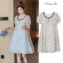 Dress Other / other Decor M,L,XL,XXL Korean version Short sleeve Medium length summer Crew neck Decor
