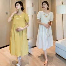 Dress Other / other Yellow, apricot white M,L,XL,XXL Korean version Short sleeve Medium length summer Crew neck Decor