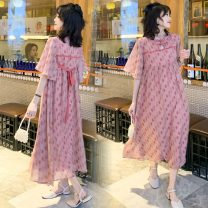 Dress Other / other Pink Decor M,L,XL,XXL Versatile Short sleeve have more cash than can be accounted for summer stand collar other Chiffon