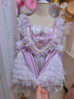 Dress Summer 2020 Purple, pink Average pre-sale 15 days delivery Short skirt singleton  Long sleeves Sweet square neck middle-waisted Solid color Socket Princess Dress pagoda sleeve Others Type A Bows, ruffles, folds, lace princess