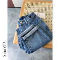 Jeans Spring 2021 blue S,M,L,XL Ninth pants Natural waist Haren pants routine Cotton elastic denim light colour