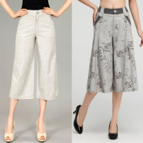 Casual pants Light grey, dark grey Two four, two three, two two, two six, two one, two five, two two Summer of 2019 Cropped Trousers Wide leg pants High waist commute Thin money 31% (inclusive) - 50% (inclusive) Other / other hemp Ol style Three dimensional cutting Asymmetry