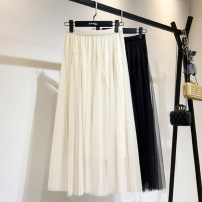 skirt Spring 2021 Average size Apricot, black Mid length dress Versatile Solid color Type A 25-29 years old other Splicing