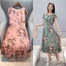Dress Summer 2021 Green, pink M,L,XL,2XL,3XL Mid length dress Short sleeve Sweet High waist Decor 30-34 years old X20B106 81% (inclusive) - 90% (inclusive) Chiffon polyester fiber