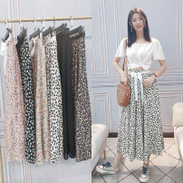 skirt Summer 2021 Average size 806-3 (white flower), 806-5 (pink flower), 806-6 (black flower), 806-7 (orange flower), 806-8 (blue flower), 806 (pure black), 806-15 (green leaf) Mid length dress commute High waist Decor 30-34 years old 31% (inclusive) - 50% (inclusive) Chiffon cotton