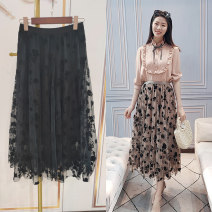 skirt Spring 2021 Average size Black, apricot Mid length dress commute Natural waist other Decor 30-34 years old 71% (inclusive) - 80% (inclusive) other cotton Gauze
