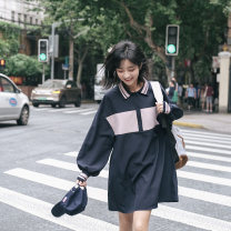 Dress Autumn of 2019 Navy, Navy pre-sale 2, Navy pre-sale 3, PS: wash separately with light color clothes S,M,L Middle-skirt singleton  Long sleeves Sweet other Loose waist other other other routine Others 18-24 years old More than 95% other cotton college