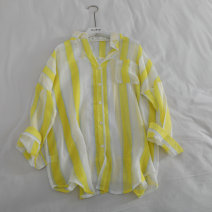 shirt yellow Average size Summer 2020 other 31% (inclusive) - 50% (inclusive) Long sleeves commute Regular Doll Collar Single row multi button raglan sleeve stripe Straight cylinder Korean version Resin fixation and printing