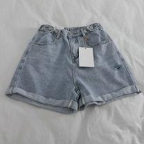 Jeans Summer 2020 wathet S,M,L,XL shorts High waist Wide legged trousers Thin money washing light colour