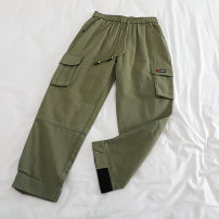 Casual pants Black, army green S,M,L,XL Autumn of 2019 Ninth pants Straight pants High waist commute Thin money 18-24 years old 51% (inclusive) - 70% (inclusive) Cotton blended fabric Korean version Three dimensional cutting