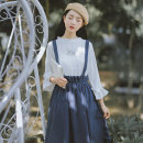 Dress Summer 2020 Navy blue, black S,M,L,XL,XS Mid length dress singleton  Sleeveless commute other High waist Solid color other Ruffle Skirt other straps 18-24 years old Type A literature straps 18M123 other
