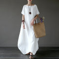 Dress Summer 2021 White (short sleeve), red (short sleeve), sapphire blue (short sleeve), white (long sleeve), red (long sleeve), sapphire blue (long sleeve) S,M,L longuette singleton  Short sleeve commute Crew neck Loose waist Solid color Socket Big swing routine Others Type A ethnic style hemp
