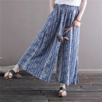 Casual pants Retro Green Printing Average size Summer 2021 trousers Wide leg pants Natural waist commute Thin money 25-29 years old 31% (inclusive) - 50% (inclusive) 2035 ink hemp Retro pocket hemp