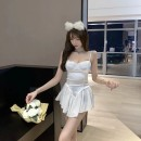 Dress Summer 2021 white S,M,L Short skirt singleton  Sleeveless Sweet V-neck High waist Solid color zipper Ruffle Skirt other camisole 18-24 years old Type X Ruffles, hollowed out, pleated, pleated, stitched, asymmetric 91% (inclusive) - 95% (inclusive) other other