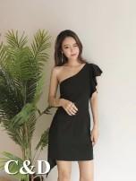 Dress Summer of 2018 White black S M Short skirt singleton  Sweet Slant collar Solid color zipper Type X Asymmetric ruffles 91% (inclusive) - 95% (inclusive) other