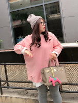 Women's large Winter of 2019 Pink Large XL, large XXL, large XXL, large XXXXL, large XXXXL Sweater / sweater singleton  commute easy moderate Socket Long sleeves Solid color Korean version Crew neck routine Polyester, cotton Three dimensional cutting other Addictive 18-24 years old hole