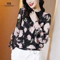 Lace / Chiffon Spring 2021 Black Peony cssz2112 bronze pattern S M L XL XXL XXXL Long sleeves commute Socket singleton  Straight cylinder Regular Polo collar Decor routine 35-39 years old Can Sheng CSSZ2112B Korean version 96% and above 100.00% polyester Pure e-commerce (online only) polyester fiber