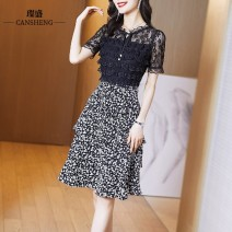 Dress Summer 2021 Black Floral Dress S M L XL XXL XXXL Mid length dress singleton  Short sleeve commute stand collar High waist Solid color Socket A-line skirt routine Others 35-39 years old Type A Can Sheng Korean version CSSZ2127 More than 95% polyester fiber 100.00% polyester