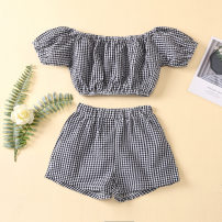 suit Other / other lattice 90cm,100cm,110cm,120cm,130cm female summer Europe and America Short sleeve + pants 2 pieces Thin money No model lattice cotton Expression of love Class A 3 months , 18 months , 2 years old , 3 years old , 4 years old , 5 years old