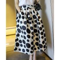 skirt Spring 2020 S,M,L Dot Mid length dress Versatile High waist Fluffy skirt Dot Type A More than 95% other zipper