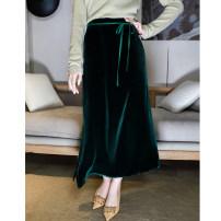 skirt Autumn 2020 S,M,L,XL,2XL Dark green, black longuette Versatile High waist A-line skirt Solid color Type A Q3021 30% and below silk