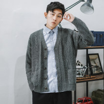 T-shirt / sweater Others Youth fashion Grey, blue, orange M,L,XL,2XL routine Cardigan V-neck Long sleeves My1916 cardigan solid sweater spring and autumn easy 2020 leisure time tide youth routine Solid color other Regular wool (10 stitches, 12 stitches) other other