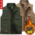 Vest / vest Business gentleman Others L,XL,2XL,3XL,4XL Other leisure standard Vest Plush and thicken winter stand collar middle age 2018 Basic public Solid color zipper Straight hem polyester fiber Flocking